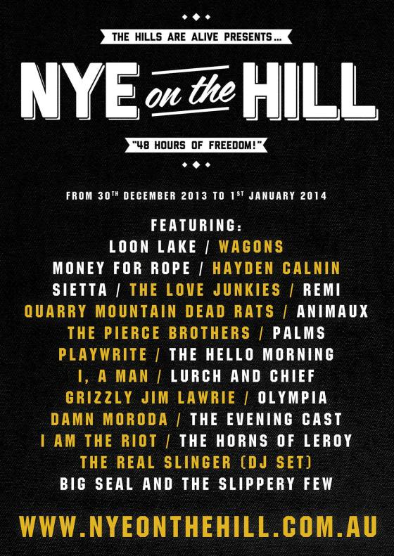 NYE ON THE HILL // LINE UP ANNOUNCED